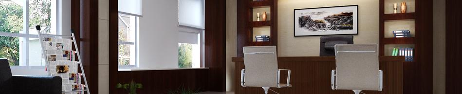 中式办公室装修中的桌子一般呈方形或长方形,以体现工作人之间的尊卑